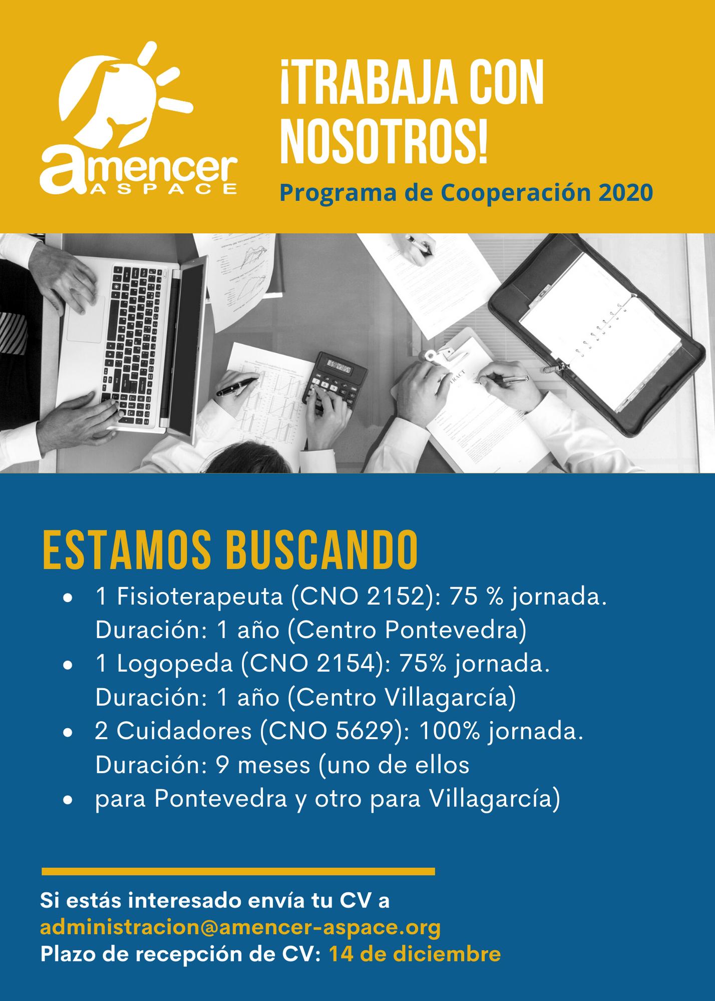 Oferta de empleo en AMENCER ASPACE. Programas de Cooperación 2020